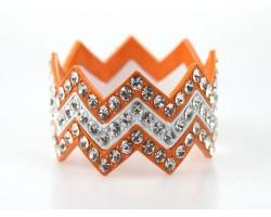 Orange & White Large Crystal Chevron 3 Bangle Bracelet