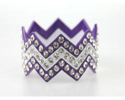 Purple & White Large Crystal Chevron 3 Bangle Bracelet