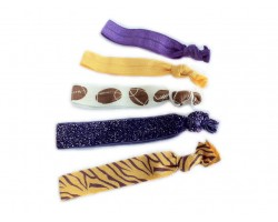 Purple & Yellow Tiger & Football Stretch Hair Tie 30 Pieces