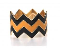 Black Gold Triple Chevron Gold Bangle Set