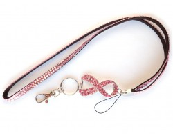 Pink Ribbon Charm Crystal Lanyard ID Tag/Eyeglass