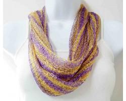 Purple Gold Loose Weave Oblong Scarf