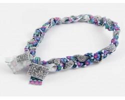 Aztec Blue Braided Ribbon Stretch Headband
