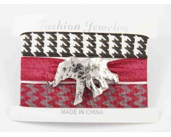 Assorted Alabama Elephant Hair Tie Bracelet 18pk