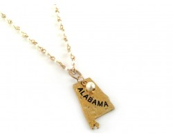 Antique Gold ALABAMA State Map Pearl Link Necklace