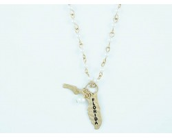 Antique Gold FLORIDA State Map Pearl Link Necklace