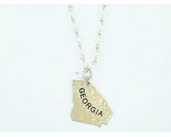 Antique Gold GEORGIA State Map Pearl Link Necklace