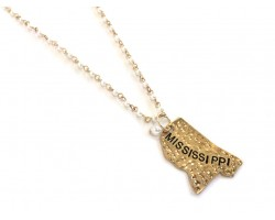 Antique Gold MISSISSIPPI State Map Pearl Link Necklace