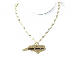 Gold North Carolina State Map Pearl Link Necklace