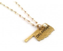 Antique Gold OKLAHOMA State Map Pearl Link Necklace