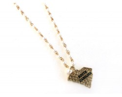 Gold South Carolina State Map Pearl Link Necklace