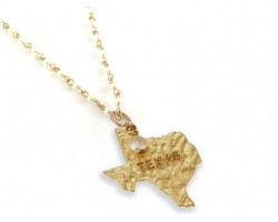 Antique Gold TEXAS State Map Pearl Link Necklace