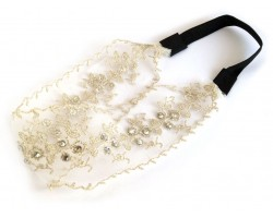 Beige Small Roses in Row Embroidery Lace Stretch Headband