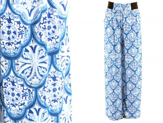 Blue Floral Print Lounge Pants