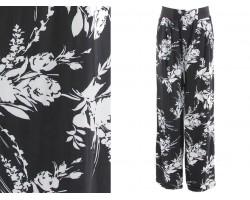 Black White Floral Print Lounge Pants