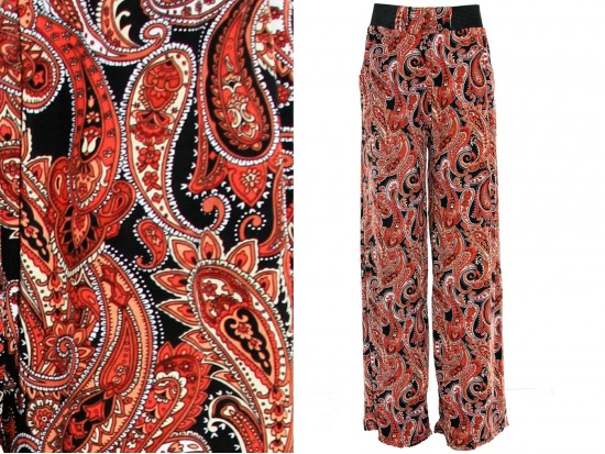 Red Multi Paisley  Print Lounge Pants