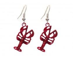 Red Crawfish Hook Earrings