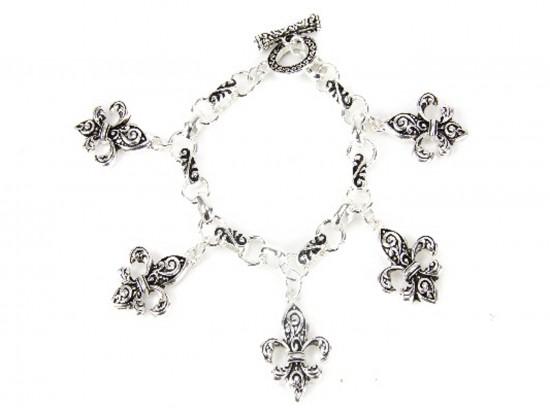Silver Fleur De Lis Charm Toggle Bracelet