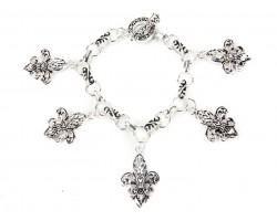 Silver Fleur De Lis Heart Charm Toggle Bracelet