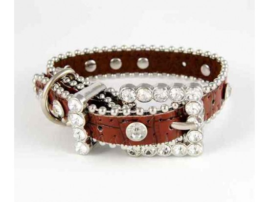 """11"""" Brown Patten Leather Clear Crystal Studded Dog Collar"""