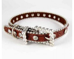 "20"" Brown Patten Leather Clear Crystal Studded Dog Collar"