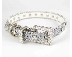 "20"" Silver Glitter Leather Clear Crystal Studded Dog Collar"