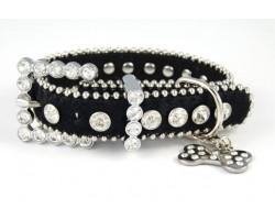 "15"" Black Fur Clear Crystal Studded Dog Collar"