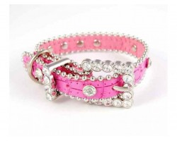 "15"" Pink Leather Clear Crystal Studded Dog Collar"