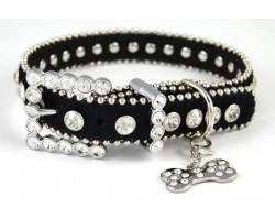 "17"" Black Patent Leather Clear Crystal Studded Dog Collar"