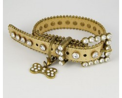 """17"""" Gold Leather Clear Crystal Studded Dog Collar"""