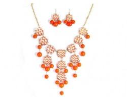 Orange White Chevron Bubble Necklace Gold Chain