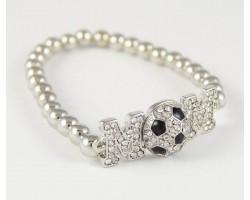 """Crystal """"Mom"""" Soccer Silver Bead Stretch Bracelet"""