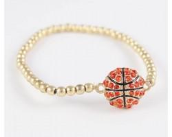 Crystal Basketball Gold Bead Stretch Bracelet