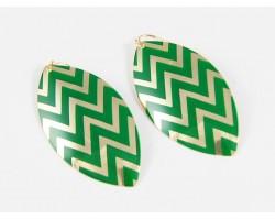 Green Gold Chevron Marquise Hook Earrings