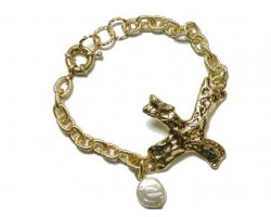 Gold Distressed Cross Pearl Charm Chain Bracelet