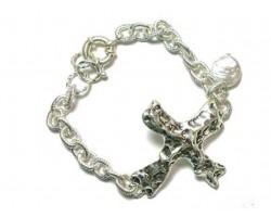 Silver Distressed Cross Pearl Charm Chain Bracelet