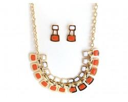 Orange White Tab Gold Chain Link Necklace Set