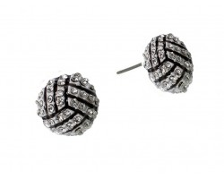 Mini Crystal Volleyball Post Earrings
