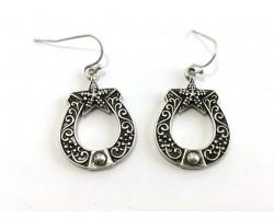 Antique Silver Horseshoe Hook Earrings