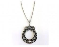 Antique Silver Horseshoe Chain Necklace