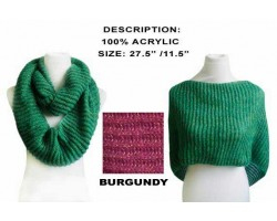 Burgundy Infinity Knit Scarf Or Top