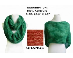 Orange Infinity Knit Scarf Or Top