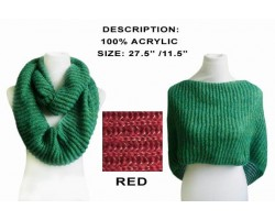 Red Infinity Knit Scarf Or Top