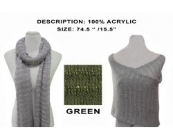 Green Striped Sequin Knit Scarf