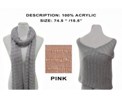 Light Pink Striped Sequin Knit Scarf