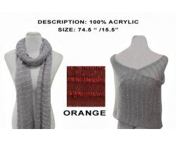 Orange Striped Sequin Knit Scarf