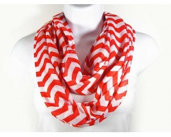 Red Jersey Knit Chevron Infinity Scarf