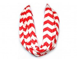 """Red Jersey Knit Chevron Infinity 2 Layer 18"""" wide Scarf"""