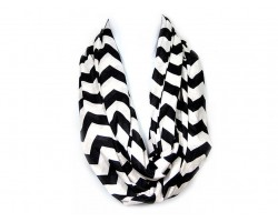 "Black Jersey Knit Chevron Infinity 2 Layer 10"" Wide Scarf"