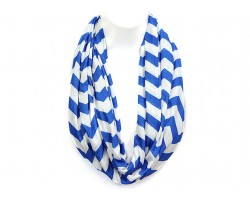 """Blue Jersey Knit Chevron Infinity 2 Layer 10"""" Wide Scarf"""